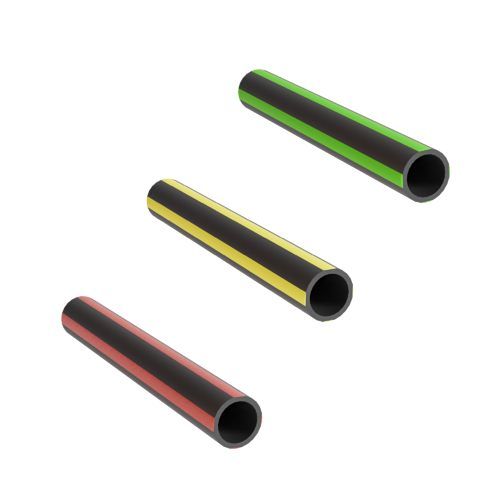 Three, black, thick-walled microducts with respectively red, yellow and green stripes