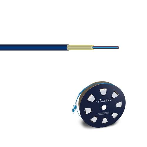 Dark blue Hexatronic Stingray air blown fiber and dark blue reel with Stingray logotype