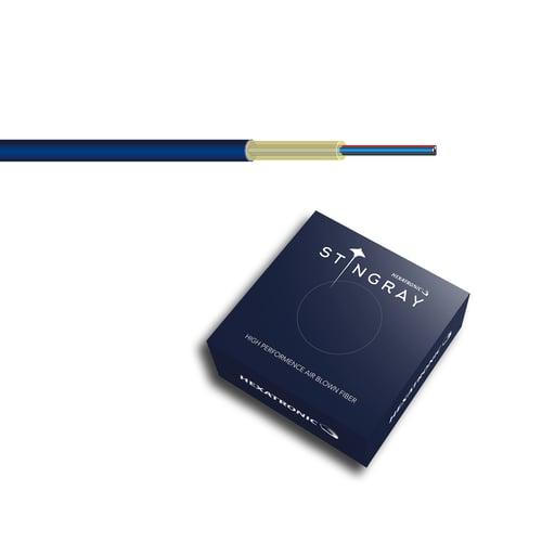 Dark blue Hexatronic Stingray air blown fiber and dark blue cardboard box with Stingray logotype