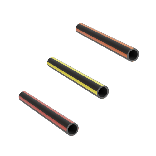Three black microducts with respectively orange, yellow and red stripes
