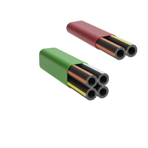 Two microduct assemblies in various colours