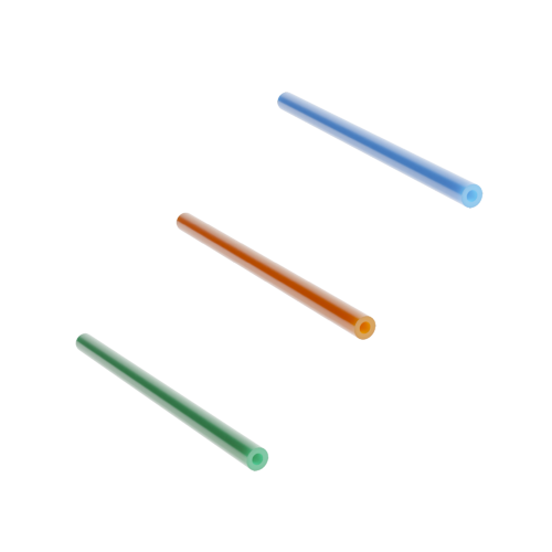 Three thick walled microducts in green, orange and blue