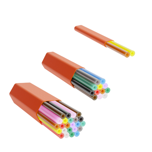 Three different versions of indoor microduct assemblies in different colours